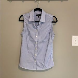 No-iron blue and white striped blouse